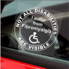 1 x Fibromyalgia-Not All Disabilities Are Visible-Round-Window Sticker-Sign,Car,Disabled